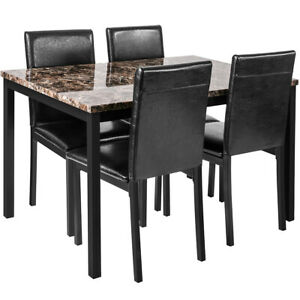 5pcs Dining Set Kitchen Room Table Set Dining Table And 4 Leather Chairs Black Ebay