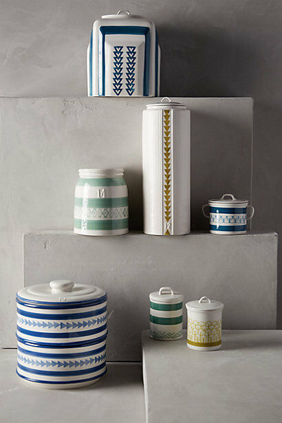 NWT Anthropologie Marquesas Kitchen Collection Spice Jar Handpainted color Lime