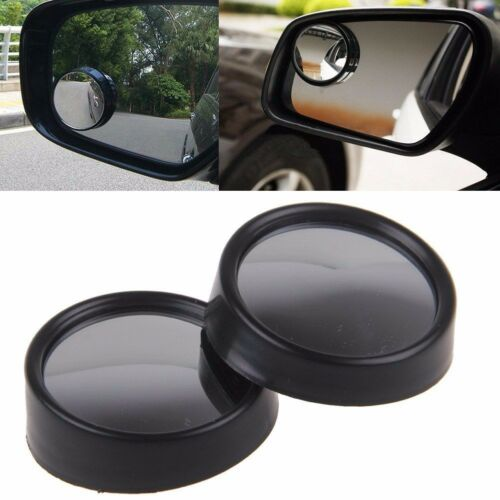 2pcs Black Frame Wide Angle Convex Rear Side View Blind Spot Mirror for Car