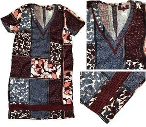 NEXT-Summer-SCARF-PRINT-Linen-Blend-Embroidery-T-Shirt-Shift-Dress-Tunic-8-26