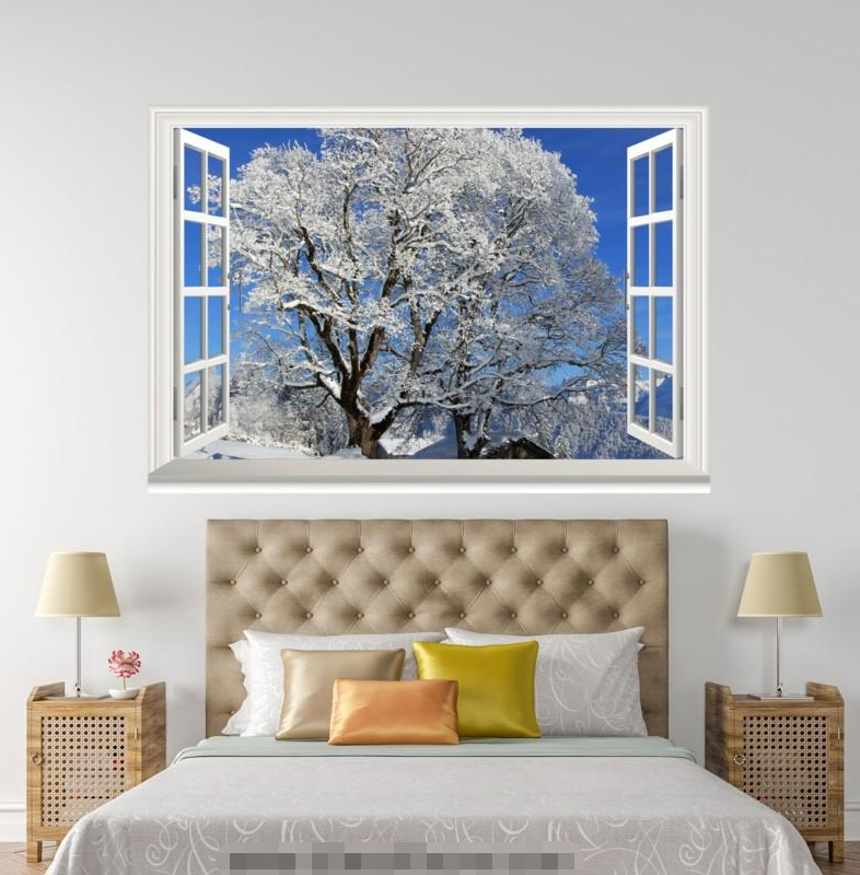 3D Tree Snow 4568 Open Windows WallPaper Murals Wall Print Decal Deco AJ Summer