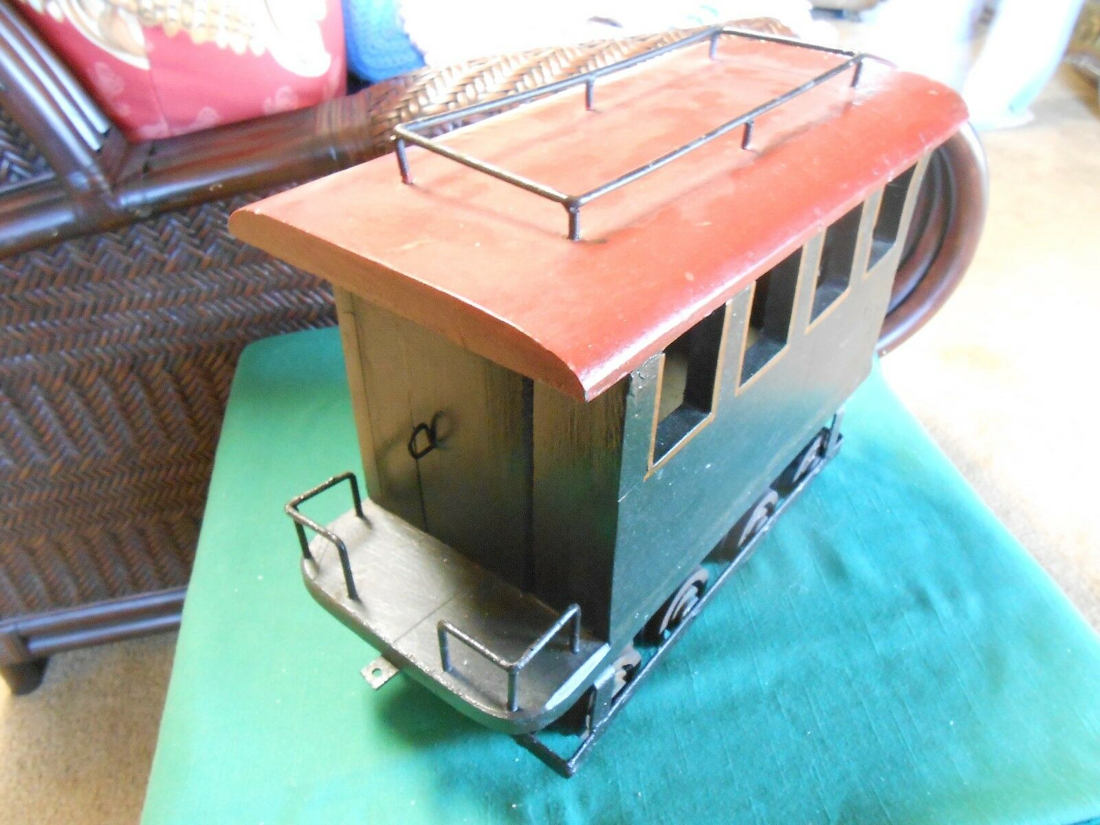 Magnificent Vintage Wood Handcrafted CABOOSE Model- Metal supports...ON  SALE
