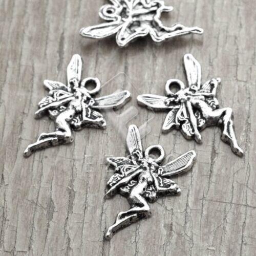 50Stk.Neu Tibetische Silber Metall Anhänger Charm Schmuck Engel 21x15x3mm PP