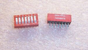 QTY (39)  76RSB07S GRAYHILL 7 POSITION DIP SWITCH RECESSED ROCKER ON-OFF SPST