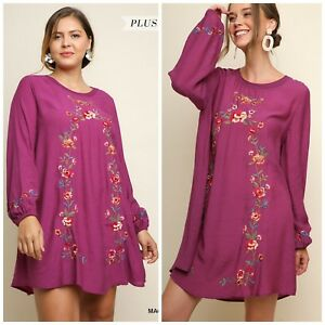 b3ae47dc7d81a NWT S-2X Umgee Long Sleeve Magenta Floral Embroidered Keyhole Dress ...