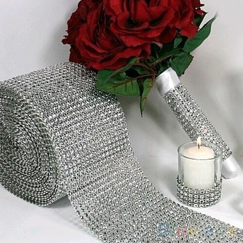 "New 4.75""x1 Yard Shiny Silver Plastic Mesh Wrap Sparkle Ribbon Party Decoration"
