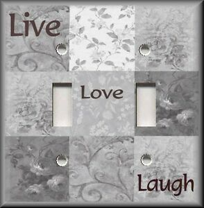 Metal Light Switch Plate Cover Live Love Laugh Home Decor Light Grey Decor Ebay