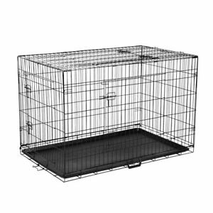 Pet-Kennel-Dog-Folding-Steel-Crate-Animals-Playpen-Wire-Metal-Cage-Black