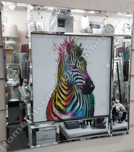 Multi-coloured-zebra-with-liquid-art-crystals-amp-mirror-frame-pictures
