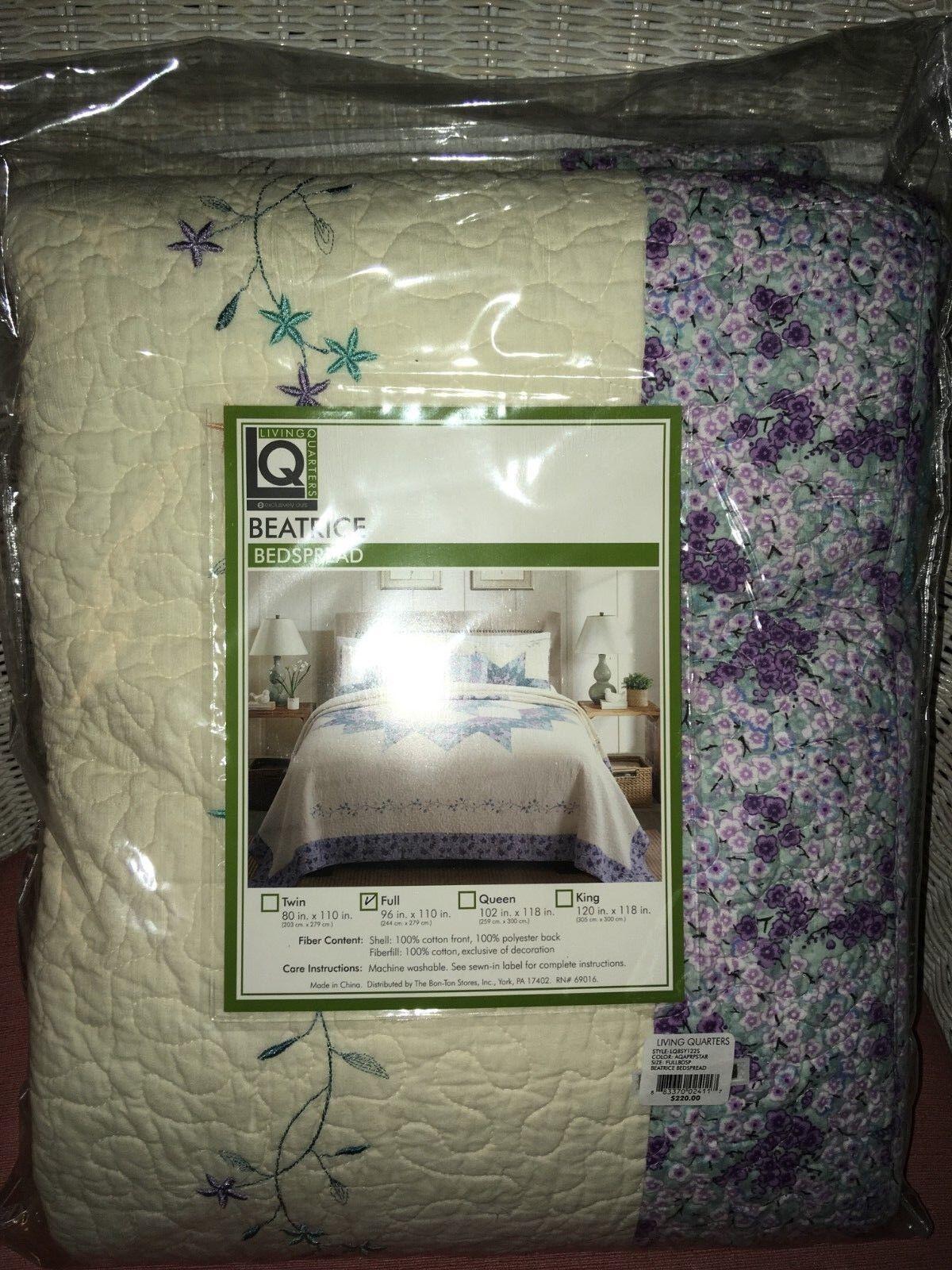 New Living Quarters New BEATRICE Quilt Multi color SIZE FULL Lavender