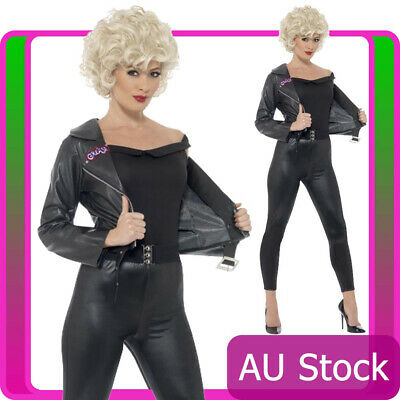 Ladies Grease Sandy Costume Womens 50s T-birds Black Jacket Tbirds 1950s Bad