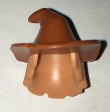 LEGO - Minifig Hair & Hat, Mid-Length Scraggly w/ Dark Orange Floppy Witch Hat