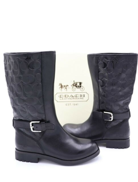 542e669501d Coach Vera Embossed Print Leather Motorcycle Biker BOOTS in Black Sz 5.5