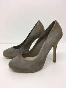 WOMENS ZARA GREY SUEDE SLIP ON HIGH