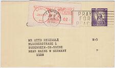 USA 1960, 3 C. Ganzsache mit interessanter ZuF von Easton nach Deutschland