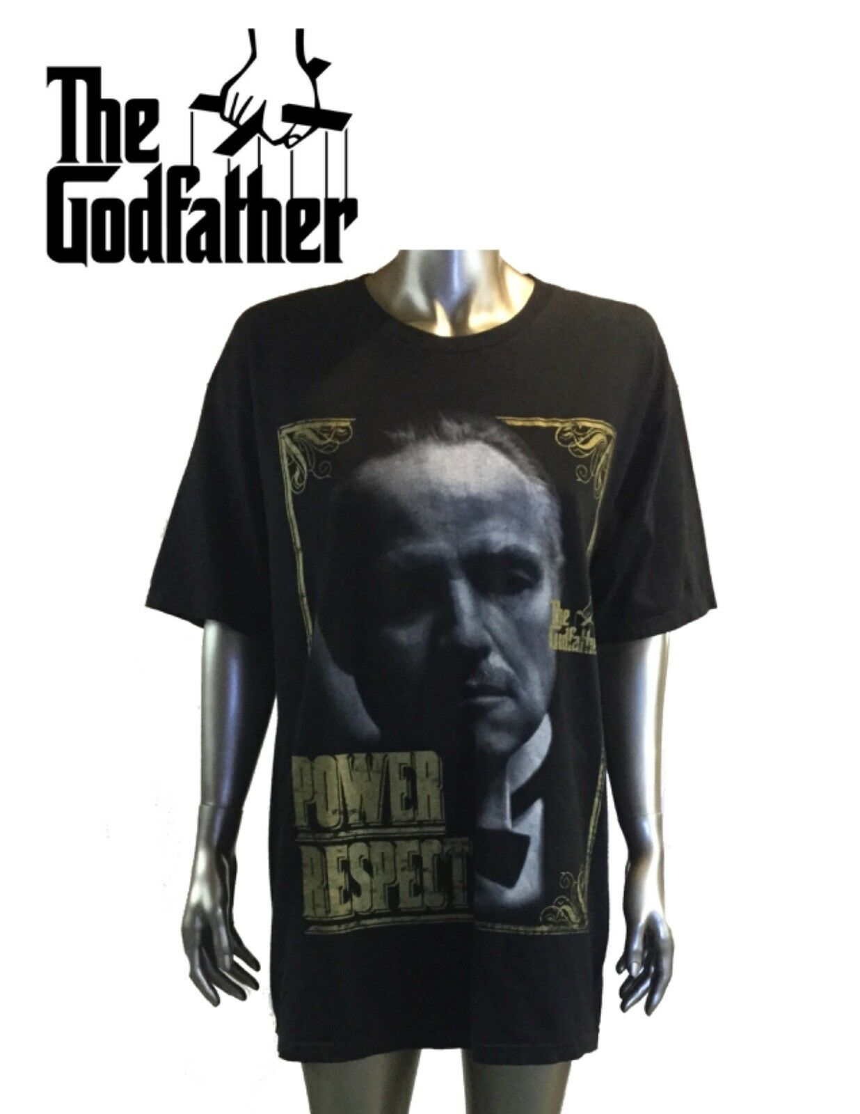 Vintage, Power The Godfather Power Vintage, Respect, T-Shirt Nera Uomo Grande 9cb109