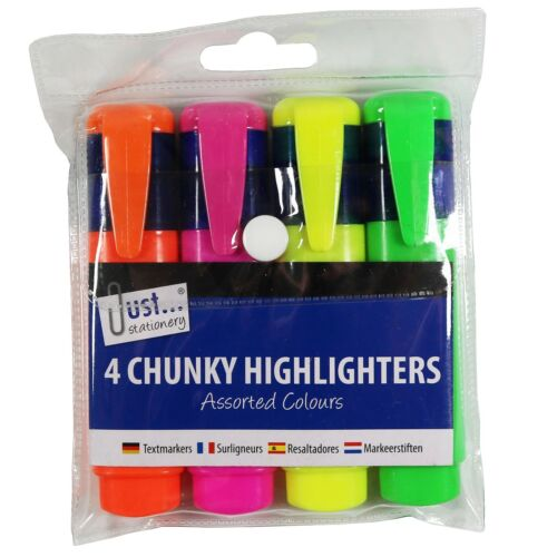 4 Chunky Neon Highlighter Pens Markers Lumi Assorted Colours Just Stationery