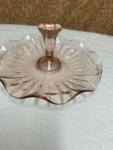 Vintage Pink Glass Center Handle Candy or Cookie Dish Scalloped Edges (M)