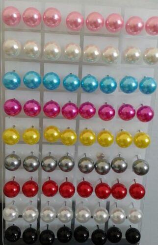 LOT 12 paire boucle d/'oreille perle couleur brillante puce 3 a 12 MM neuf blanc
