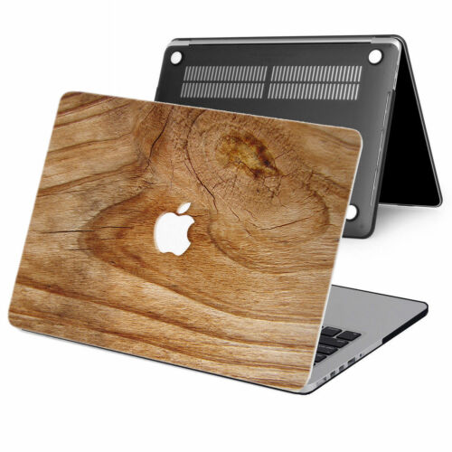 "2in1 Wood Paint Rubberized Hard Case Cover For New Macbook Pro Air 11/"" 12 13/"" 15"