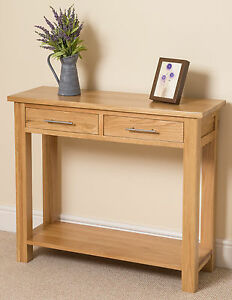 Hall Side Table oslo 100% solid oak 2 drawer console hall side table living room