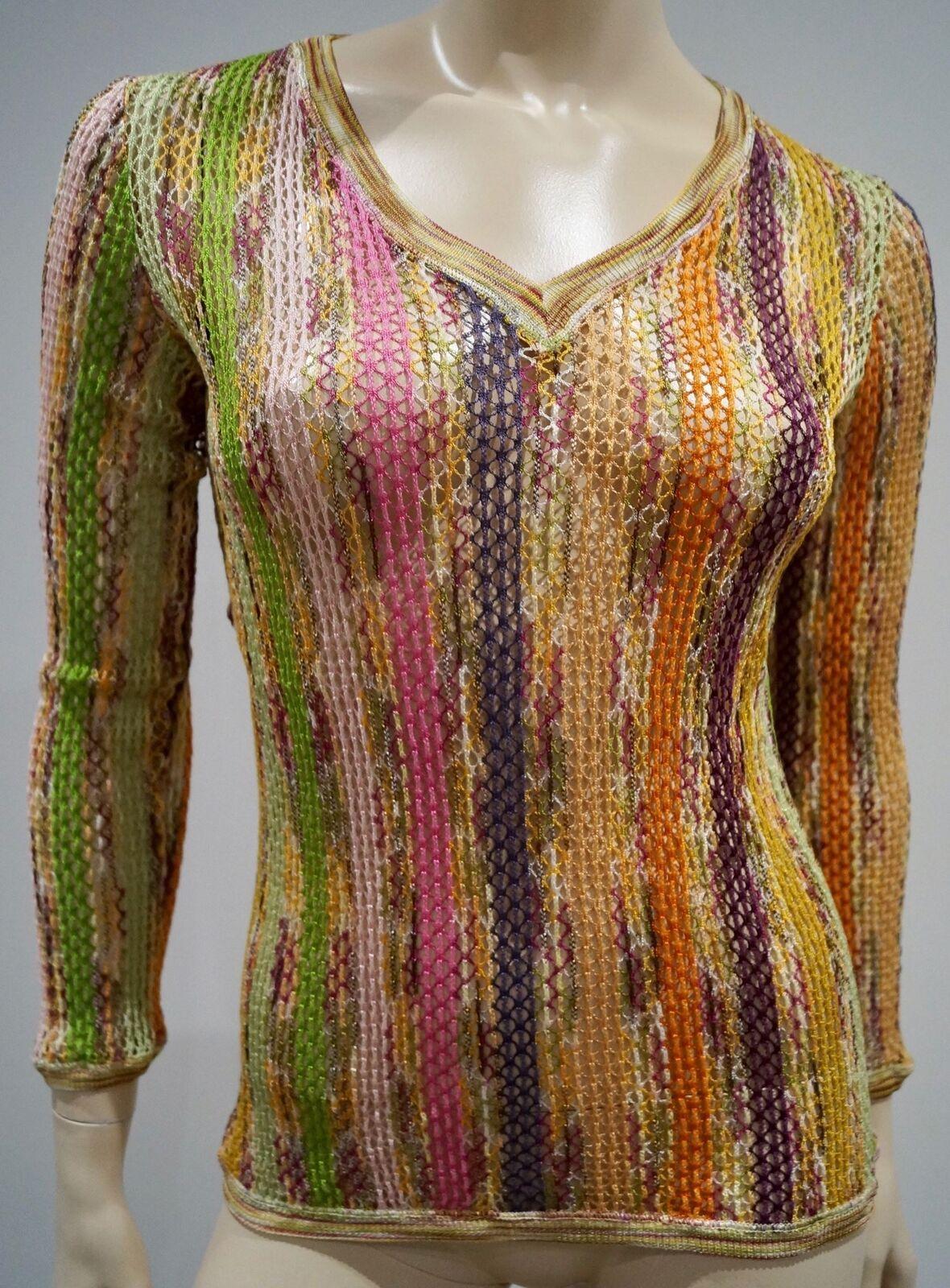 MISSONI Multicolore A Righe Misto Cotone Collo V V V allentato maglione Maglieria Netto Top 40 872b90