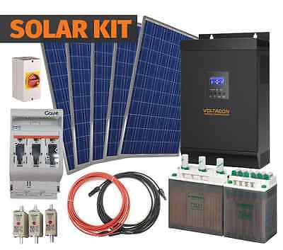 1500Watt Solar Off Grid System. AGM batteries, 12V/230V inverter. 2X 250W Panels
