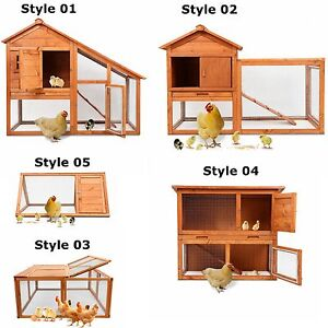 Wooden-Chicken-Coop-Hen-Rabbit-Small-Animal-Pet-Poultry-W-Run-Hutch-Cage-House