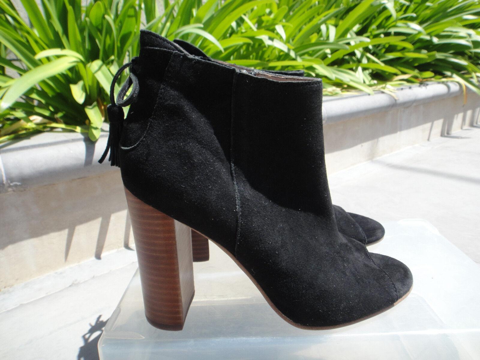 Halogen WARIN Open Toe Boot, Decorative Bow Back, Black Suede US Sz 9M, NWOT