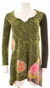 Desigual-para-Mujer-Tunica-Top-Algodon-Verde-Pequeno-Tamano-10-IW14