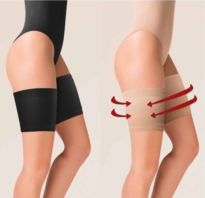 Gabriella Oberschenkelbänder glatt Übergröße Anti Reibung Bänder Schwarz/Beige