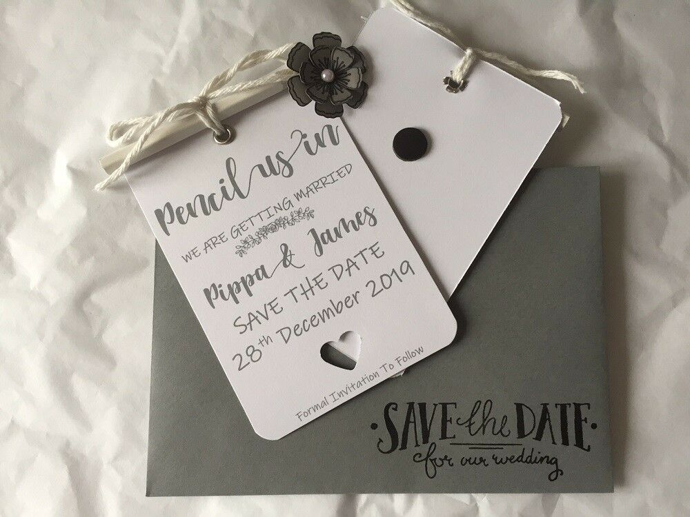 Personalised Pencil Us In Weiß & grau Save the Date Invitations Cards & Envs