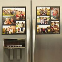 Wind & Sea Magnetic Picture Collage Frame For Refrigerator, 2-pack, Black, New, on Sale