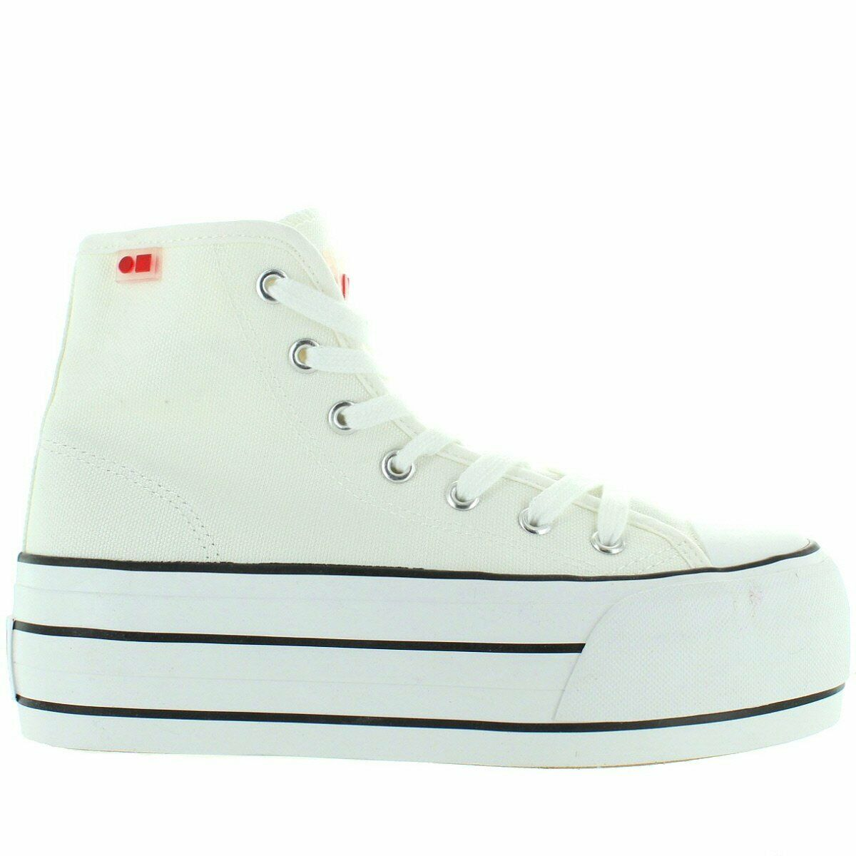 Coolway Rizzo - White Canvas High Top Mega Platform Lace Sneaker