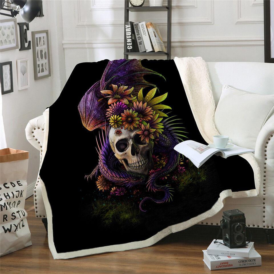 Dragon Skull Gothic SunimaArt Sherpa Plush Throw Blanket Fleece Bed Sofa Couch