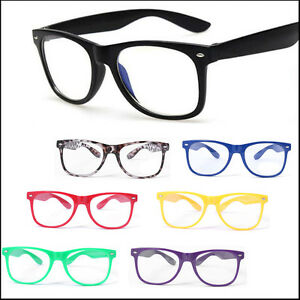 Men-Women-Classic-Geek-Nerd-Clear-Lens-Glasses-Unisex-Fashion-Candy-Color-Frame