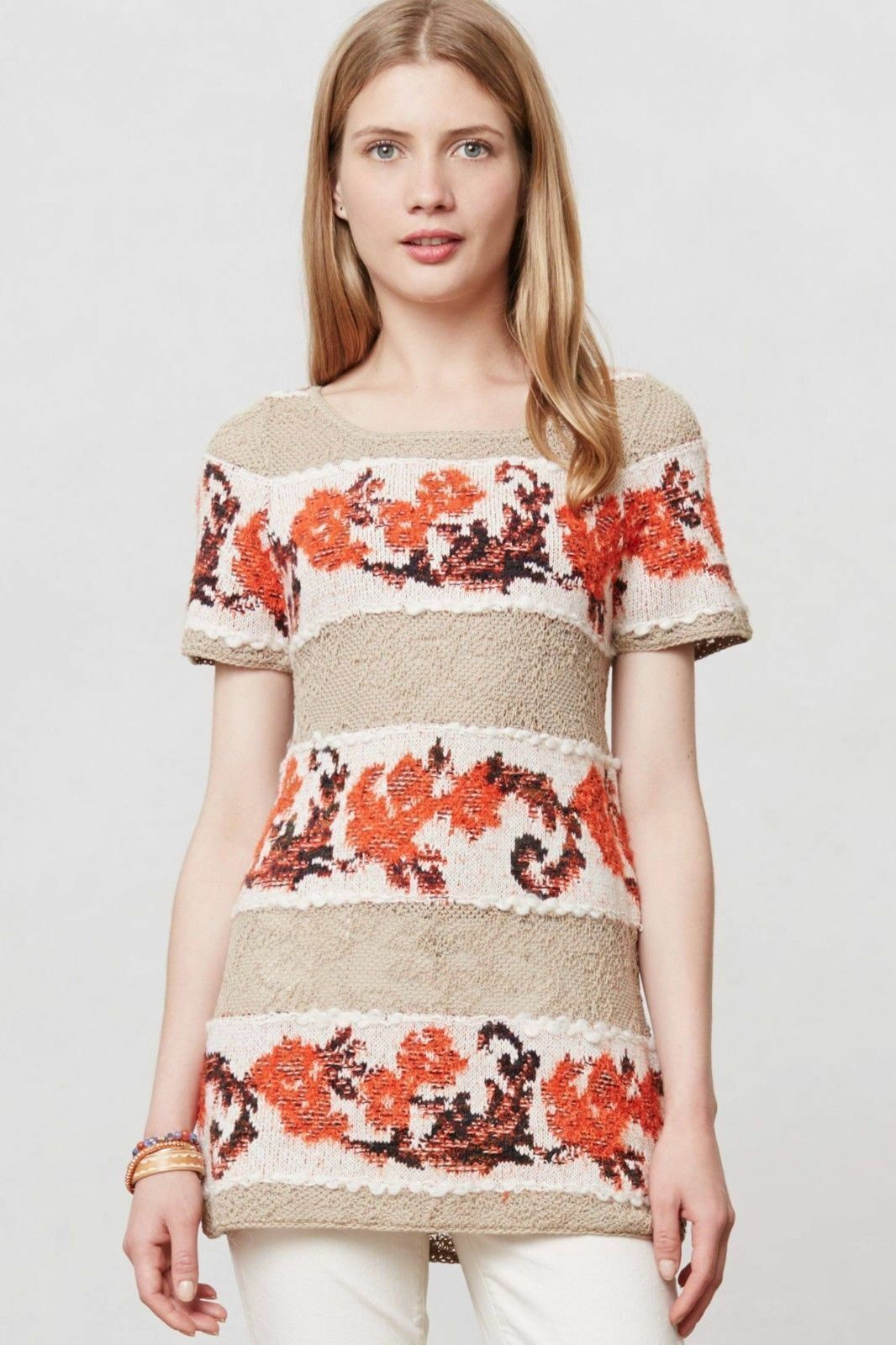 NWT ANTHROPOLOGIE BANDED BOUQUETS TUNIC TOP SWEATER by KNITTED & KNOTTED M