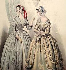 LE FOLLET 1845 Hand-Colored Fashion Plate #1241 Fancy Costumes GOWNS Orig.Print