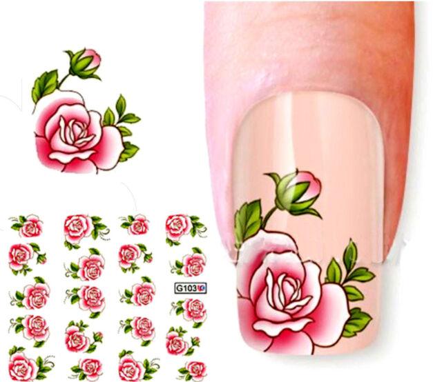 NB054 NAGELSTICKER Nail Art Tattoo Aufkleber große rosa Blumen