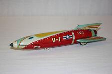 Vintage Masudaya MT Moder Toys Japan Tin Litho Friction V-1 Rocket Ship VG L@@K