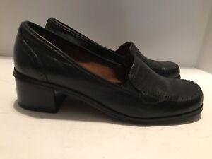ea0c58d46b34 Naturalizer Black Shoes Block Heel 9M Slip On Leather Loafer Casual ...