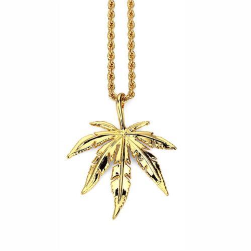 Men Women Hip Hop Hemp Leaf Necklaces Weed Herb Chains Hip Hop Jewelry