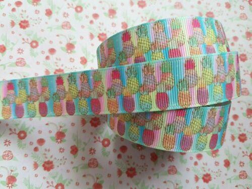 1 M x Pineapple Fruit Grosgrain Ribbon Craft Party Cake Hair Bow Gift 22mm