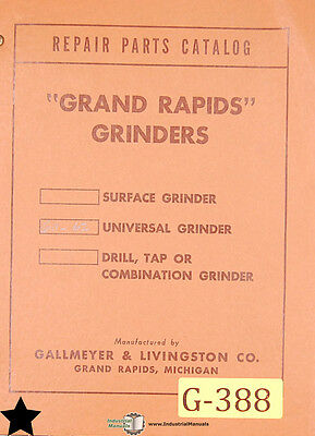 Grinders Parts Manual Grand Rapids Gallmeyer /& Livingston 60 /& 62