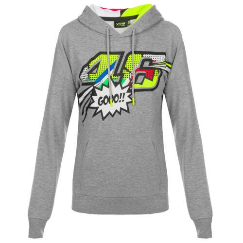 VR46 Valentino Rossi Ladies Hoodie Womens Grey Pop Art Hoody Girls Sizes XS-XL