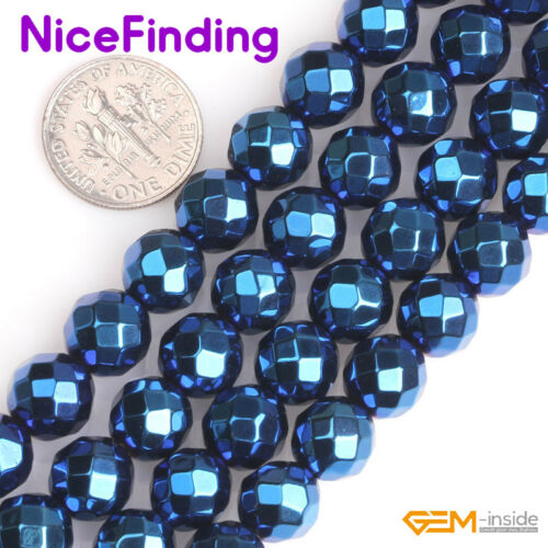"""Round Blue Metallic Coated Faceted Hematite Loose Beads For Jewelry Making 15/"""""""