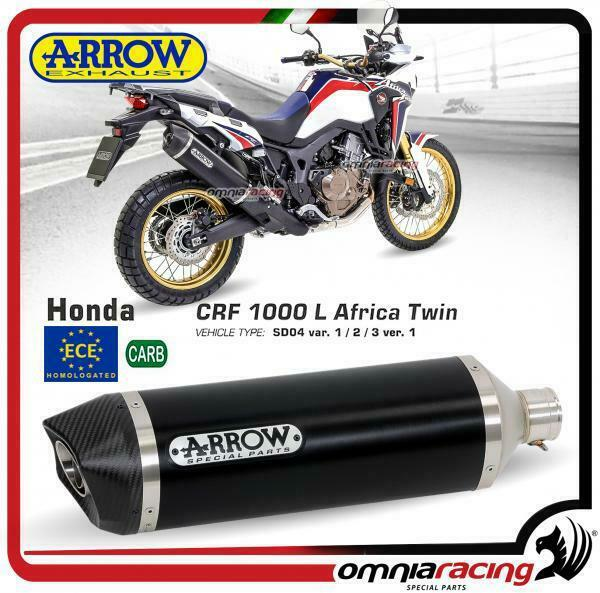 Arrow Race-Tech aluminio Dark negro homologado Honda CRF 1000L Africa Twin 16>