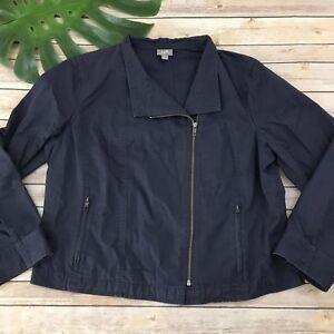 Details about J Jill Zip Up Jacket Size L Petite Dark Purple Asymmetrical  Moto Long Sleeve