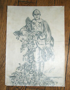 Superbe-dessin-au-crayon-signe-amp-date-du-29-06-1919-poilu-soldat-WW1
