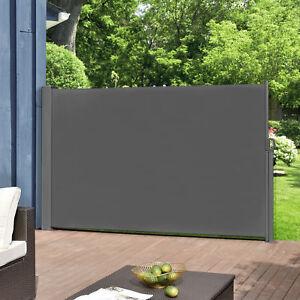 pro-tec-Seitenmarkise-160x300cm-grau-Sichtschutz-Markise-Sonnen-amp-Windschutz